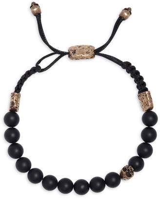 Mercer Brass & Cabochon Onyx Adjustable Bracelet