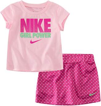 "Nike Baby Girl 2-piece ""Girl Power"" & Skort Skirt Set"