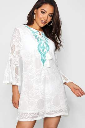 boohoo Embroidered Lace Beach Cover Up
