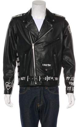 Church's Patrick x Muse0 Hand-Painted Diary Leather Moto Jacket w/ Tags
