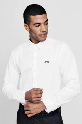 boohoo MAN Logo Embroidered Long Sleeve Shirt