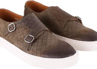 Doucal's Glasgow Woven Leather Monk Strap Shoes