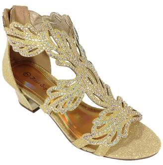 Enzo Romeo Lime03N Womens Open Toe Mid Heel Wedding Rhinestone Gladiator Sandal Wedge Shoes (7.5, )