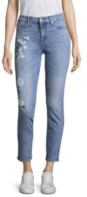 7 For All Mankind Painted Floral Jeans