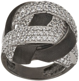 Diamonique Italian Silver Crystal Satin Woven Design Ring, Sterling