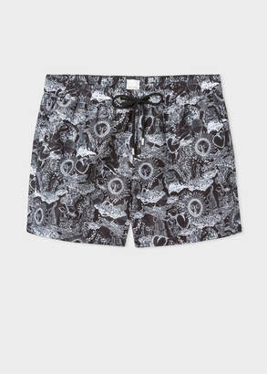 Paul Smith Men's Black 'Psychedelic Sun' Print Swim Shorts