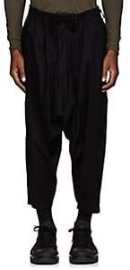 Yohji Yamamoto Men's Cotton Drawstring Crop Trousers-Black