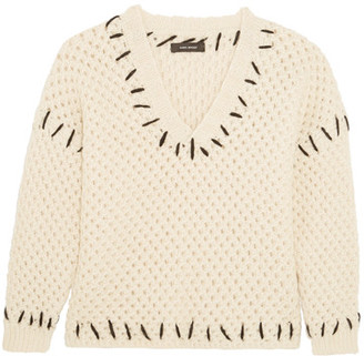 Isabel Marant - Goldy Chunky-knit Wool-blend Sweater - Ecru $600 thestylecure.com