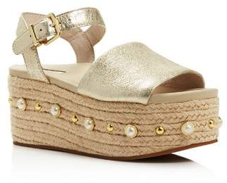 Kenneth Cole Women's Indra Leather Embellished Espadrille Platform Wedge Sandals