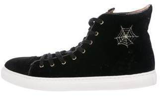Charlotte Olympia Velvet High-Top Sneakers