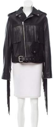Rodarte Fringe-Trimmed Leather Jacket