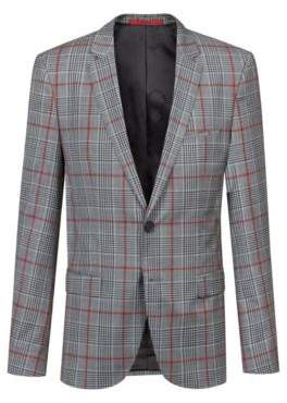 HUGO Extra-slim-fit virgin-wool blazer with check pattern