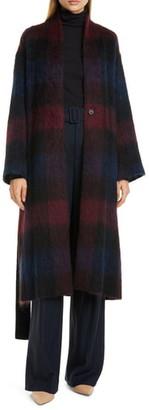 Vince Brushed Plaid Wool Blend Long Coat