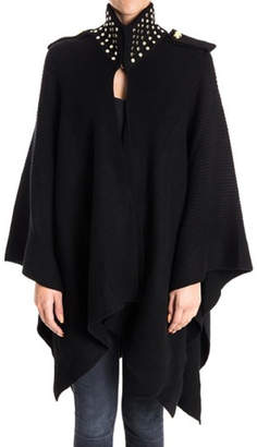 Michael Kors Studded-Neck Wool Cape