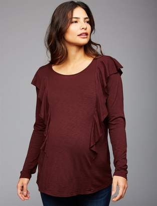 Velvet Ruffle Maternity Top
