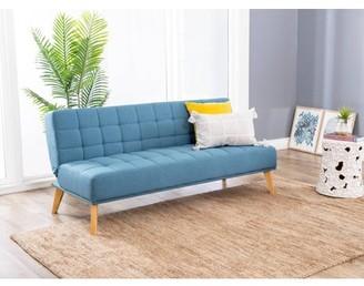Devon & Claire Miles Tufted Fabric Convertible Sofa Futon, Blue