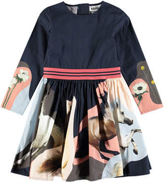 Molo Christin Woven Long-Sleeve Horse-Print Dress, Size 2T-12
