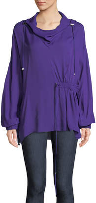 Tibi Ruching-Detailed Viscose Georgette Hoodie