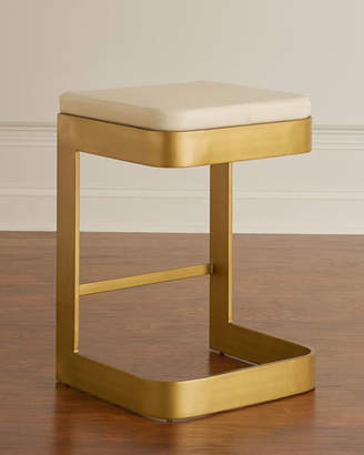 Global Views Jordan Leather & Brass Counter Stool