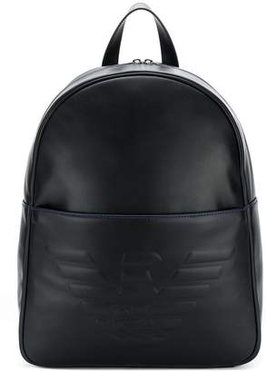 Emporio Armani logo embossed backpack