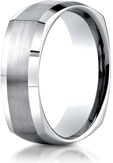 Benchmark 14K White Gold 7mm Comfort-Fit Satin-Finished Four-Sided Carved Design Band Ring