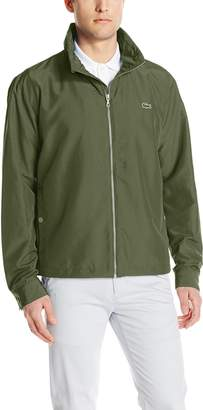 Lacoste Men's Nylon Contrasting Accents Hooded Zippered Jacket, Navy Blue/Methylene/White, 52