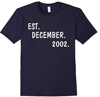 Est December 2002 15 Years Old 15th Birthday Gift T-shirt