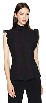 Anne Klein Women's Sleeveless Ruffle Bow Blouse
