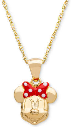 """Disney (ディズニー) - Disney Children's Minnie Mouse Bow 15"""" Pendant Necklace in 14k Gold"""
