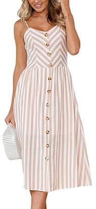 Assivia Womens Summer Floral Print Strap Casual Button Midi Dress Pockets (, XL)