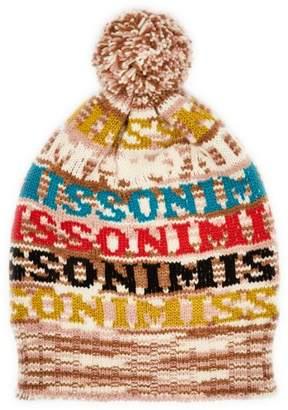 Missoni Logo Knit Wool Beanie Hat - Womens - Brown