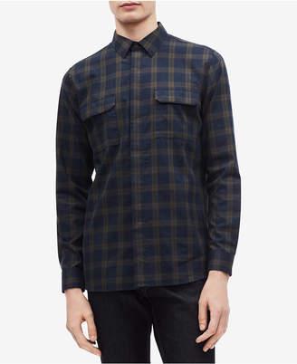 Calvin Klein Men's Two Pocket Brushed Twill Tattersall Shirt