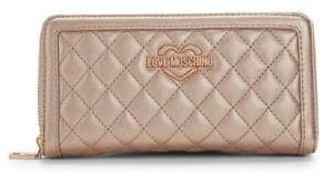 Love Moschino Metallic Quilted Wallet