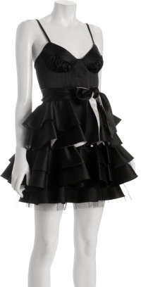 A.B.S. black tiered satin party dress