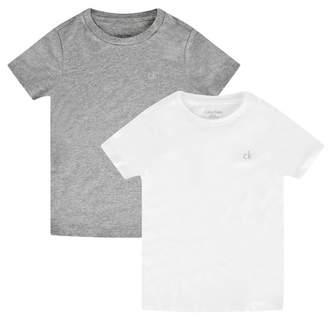 Calvin Klein Calvin KleinBoys White & Grey Cotton Tops Set (2 Pack)