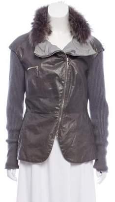 Brunello Cucinelli Fur-Trimmed Leather Jacket