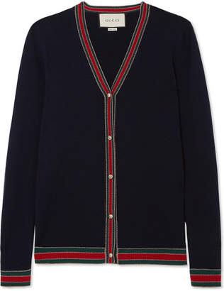 Gucci Faux Pearl-embellished Wool Cardigan - Navy