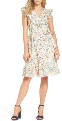 Adelyn Rae Kira Ruffle Cotton Eyelet Wrap Dress