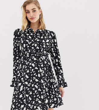 887e397253323 Asos DESIGN Maternity long sleeve shirt dress in mono leopard print
