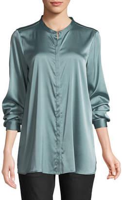 Eileen Fisher Silk Charmeuse Mandarin-Collar Shirt, Plus Size