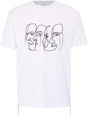 Quibe Quadruple face embroidered unisex T-shirt