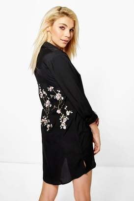 boohoo Embroidered Back Shirt Dress
