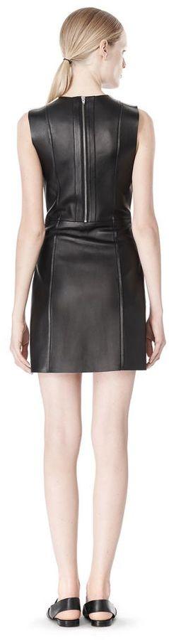 Alexander Wang Raw Edge Sleeveless Leather Shift Dress