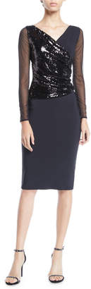 Chiara Boni Hilaria Illusion Sparkle Body-Con Dress