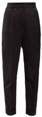 Dolce & Gabbana Floral Jacquard Trousers - Womens - Black