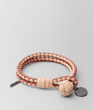Bottega Veneta PEACH ROSE INTRECCIATO LAMB CLUB BRACELET