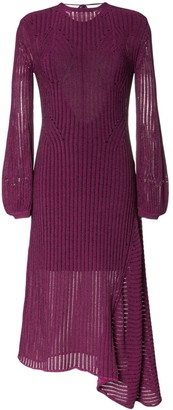 Chloé backless ribbed detail knitted silk midi dress