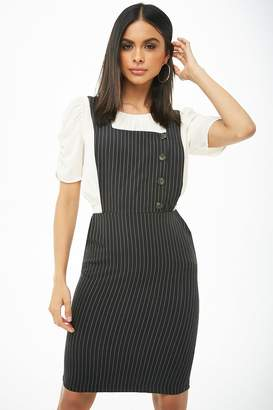 Forever 21 Pinstriped Mini Overall Dress