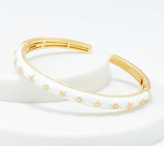 Judith Ripka 14K Gold Clad Enamel & Diamonique Cuff