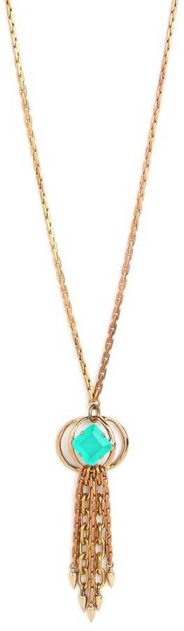 BaubleBar Althea Green Tassel Necklace